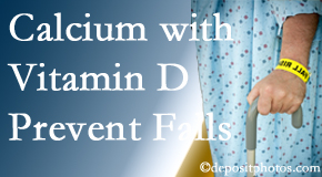 Calcium and vitamin D supplementation may be suggested to Baton Rouge  chiropractic patients who are at risk of falling.