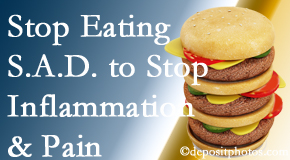 Baton Rouge  chiropractic patients do well to avoid the S.A.D. diet to decrease inflammation and pain.