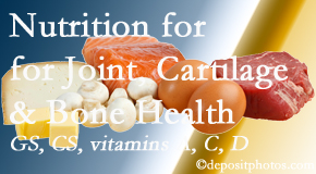 Spine & Sports Rehab Center explains the benefits of vitamins A, C, and D as well as glucosamine and chondroitin sulfate for cartilage, joint and bone health.
