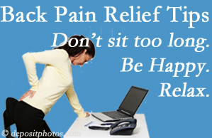 Spine & Sports Rehab Center reminds you to not sit too long to keep back pain at bay!