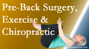 Spine & Sports Rehab Center offers beneficial pre-back surgery chiropractic care and exercise to physically prepare for and possibly avoid back surgery.