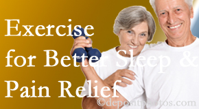 Spine & Sports Rehab Center incorporates the suggestion to exercise into its treatment plans for chronic back pain sufferers as it improves sleep and pain relief.