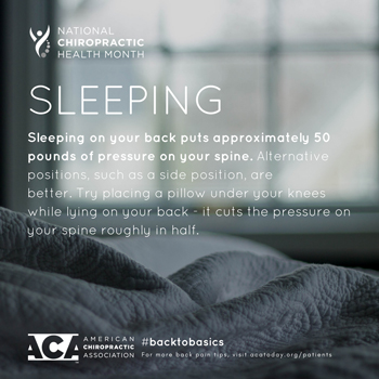 Spine & Sports Rehab Center recommends putting a pillow under your knees when sleeping on your back.